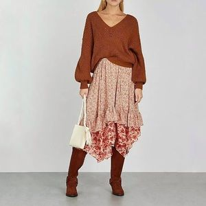 Free People Zuma Dippy Midi Skirt in Red Combo NWT